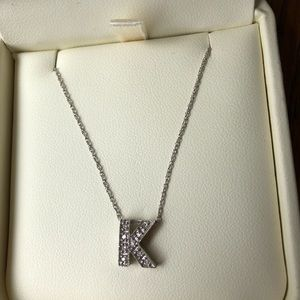 "Jewelry - 14KT White Gold and Diamond ""K"" Monogram Necklace"